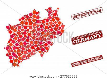 Geographic Composition Of Dot Mosaic Map Of North Rhine-westphalia State And Red Rectangle Grunge Se