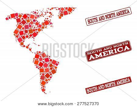 Geographic Collage Of Dot Mosaic Map Of South And North America And Red Rectangle Grunge Seal Imprin