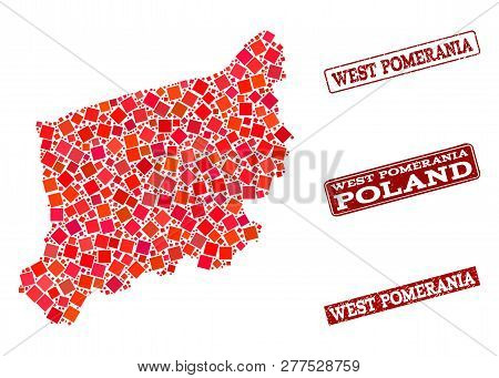 Geographic Composition Of Dot Mosaic Map Of West Pomerania Province And Red Rectangle Grunge Seal St