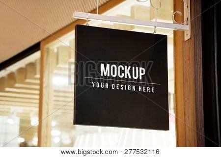 Mockup sign outside of a shop