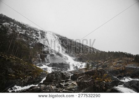 View of a waterfall in a dull day