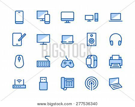 Electronics, Technology Store Blue Line Icon. Vector Illustration Flat Style. Included Icons As Tv,