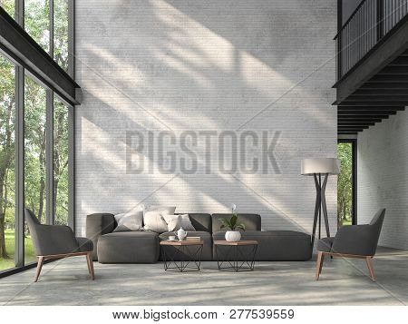 High Ceiling Loft Living Room 3d Render.there Are White Brick Wall,polished Concrete Floor And Black