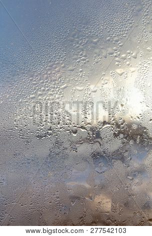 Misted Window In The House As A Background .