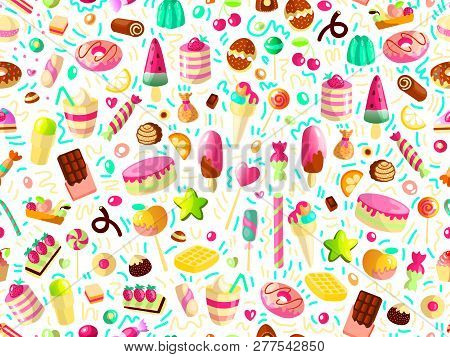 Cute Seamless Pattern With Colorful Sweets, Cakes, Lollipops. Cartoon Seamless Pattern With Candy An
