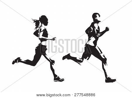 poster of Running man and woman, ink drawings, isolated vector silhouettes. Run, side view