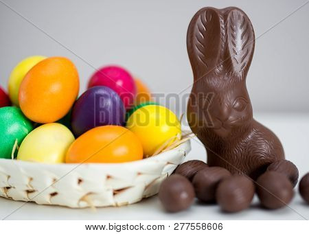 Easter Background - Colorful Painted Eggs, Chocolate Bunny And Sweets