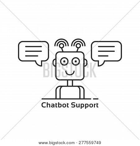 Mobile Support Through Linear Chatbot. Concept Of Chatter Bot For Online Business Or Internet Ecomme