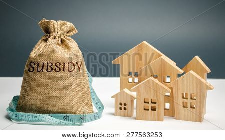 Money Bag With The Word Subsidy And Wooden Houses. Financial Aid, Support To The Population. Cash Gr