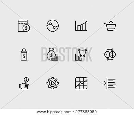 Trading Icons Set. Yield And Trading Icons With Stock Symbol, Rally And Execution. Set Of Analysis F