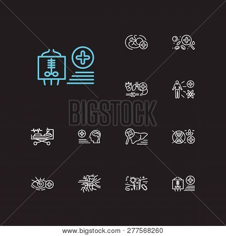 Medical Sciences Icons Set. Angiology And Medical Sciences Icons With Hematology, Neurology And Obst