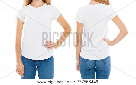 Front Back Views Woman T-shirt Isolated On White, Women Tshirt,girl T Shirt