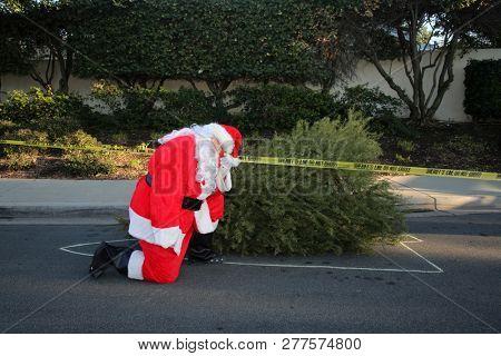 Sad Santa Claus. Santa Claus is sad that Christmas has come to an end for the year. Santa Crying. Santa is Sad.