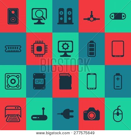 Hardware Icons Set With Cpu, Photocamera, Music Speaker And Other Printed Document Elements. Isolate