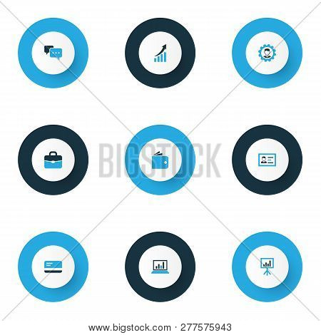 Trade Icons Colored Set With Handbag, Payment, Engineer Analytics Elements. Isolated Vector Illustra
