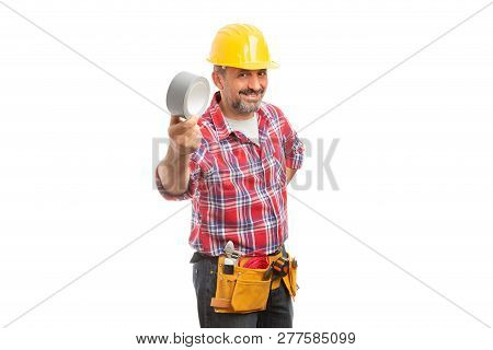 Trustworthy builder presenting grey duct tape isolated on white studio background poster