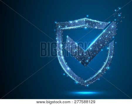 Shield With Check Mark. Network Security, Safety, Privacy Concept. Neon Shield Protection Abstract L