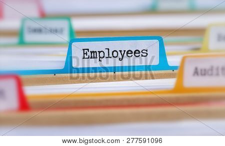 File Folders With A Tab Labeled Employees