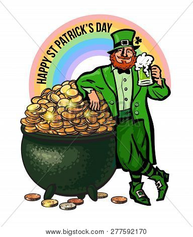 St Patricks Day Poster. Cartoon Leprechaun Character Holding Beer Mug Leaning On Pot Full Of Gold Co