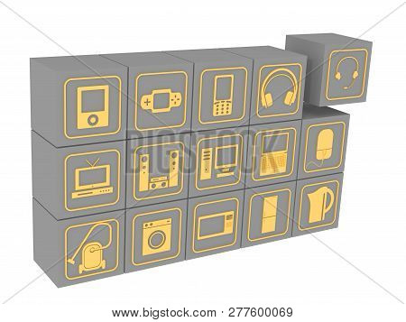 Cubes With Symbols Of Household Electronic Equipment. Many Gray Cubes With Golden Symbols Of Consume
