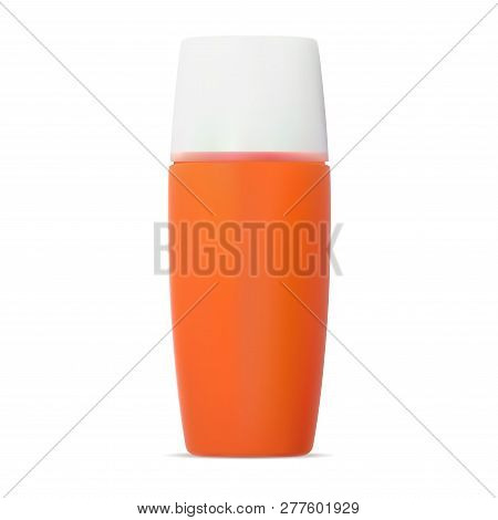Sunscreen Protection Cosmetic Cream Bottle. Sun Block Spf Protection Lotion Orage Plastic Container.