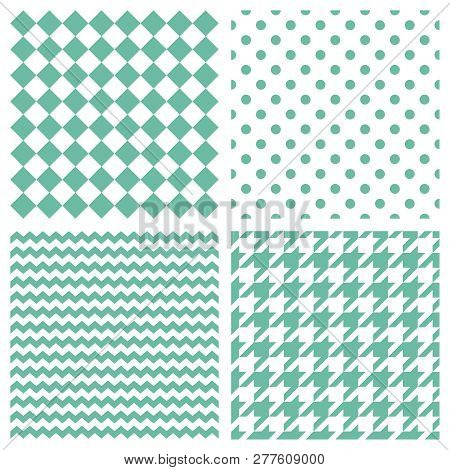 Tile Vector Pattern Set With Mint Green Polka Dots, Hounds Tooth, Hearts And Stripes On White Backgr