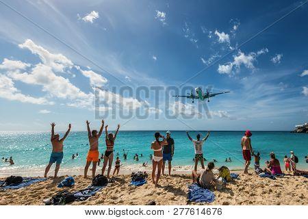 Maho Beach, Saint Martin - December 17, 2018: A Commercial Jet Approaches Princess Juliana Airport A