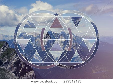 Geometric Collage With The Image Of The Mountain Landscape. Abstract Background With Image Of The Sa