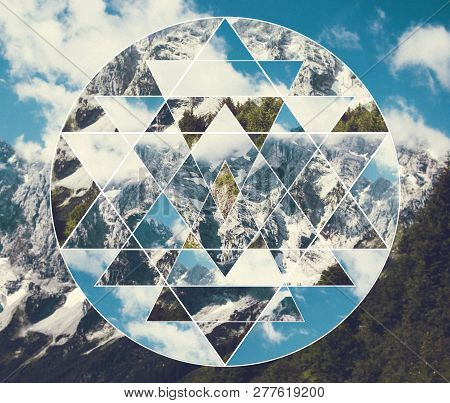 Abstract Meditative Collage With The Image Of The Mountain Landscape And The Sacred Geometry Symbol