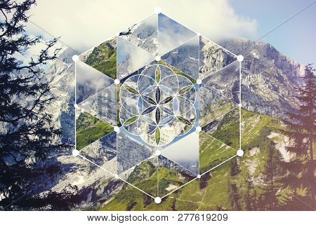 Abstract Background With The Image Of The Mountain Landscape And The Sacred Geometry Symbol. Harmony