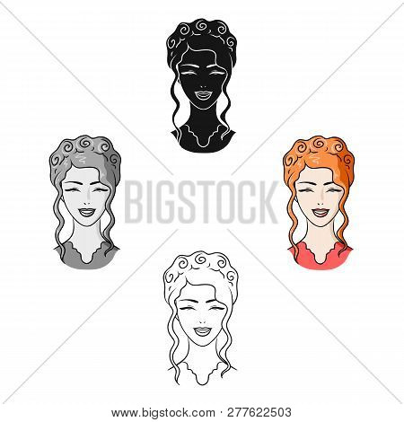 Avatar Of A Japanese Girl With A Hair.avatar And Face Single Icon In Cartoon Style Vector Symbol Sto
