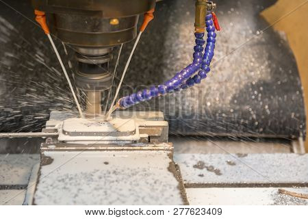 The Cnc Milling Machine Cutting The Mold Part By Solid Radius End Mill Tool.mold Manufacturing Proce