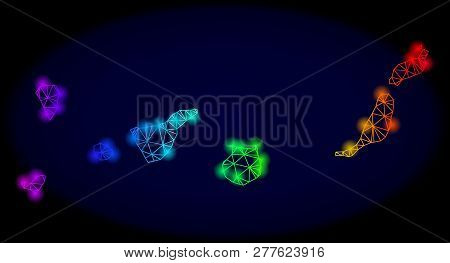 Bright Spectrum Mesh Vector Map Of Canary Islands With Glare Effect. Abstract Lines, Triangles, Ligh