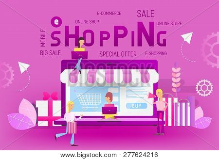 Big Violet Laptop And Young People Who Do Online Mobile Shopping On Trend Colors Banner. Vector Illu