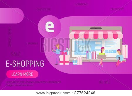 Modern Flat Design Concept Of E-commerce Online  -  Young Men And Women  Who Do Mobile Shopping In F