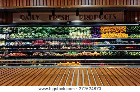 Mosta, Malta - 4 January, 2019: Panoramic View Of  Vegetable Stall Counter In Supermarket With Copy
