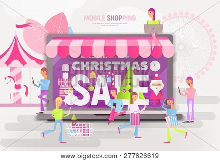 E-commerce Christmas Sale Banner - Santa Claus, Snowman And Young People Making Purchases Near Big L