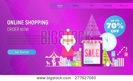 Christmas Sale Online Shopping Landing Page. E-commerce Winter Holidays Concept. Shopping Boxes And