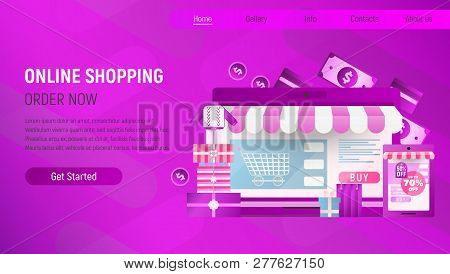 Online Shopping Landing Page. E-commerce Concept. Shopping Boxes And Bags Near Big Laptop. Violet Gr