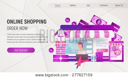 Online Shopping Landing Page. E-commerce Concept. Young Man Making Purchases Using Laptop Near Big C