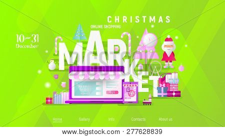 Christmas Market Online Shopping Landing Page. E-commerce Winter Holidays Concept. Shopping Boxes An