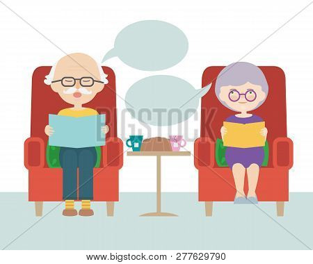 Flat Design Cartoon Illustration Of Sitting Grandfather And Grandmother Or Old Man And Woman With Th