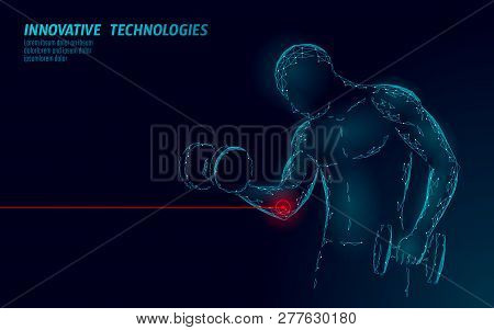 Man Training With Dumbbell Elbow Injury. Red Painful Area Polygonal Sports Medicine Abstract Concept
