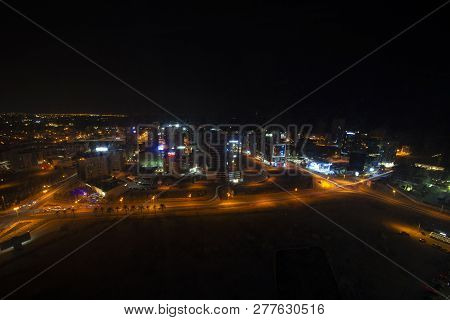 Manama, Bahrain, December 29, 2018: View Of The Skylines And Buildings Landmark At Night Of Bahrain