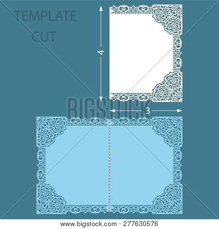 Template Greeting Congratulatory Card With A Decorative Border On The Edge. Wedding Invitation Laser