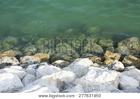Rocks Of Beach With Sea - Arab Gulf Sea