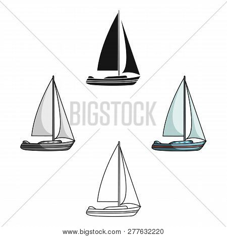 Sailboat For Sailing.boat To Compete In Sailing.ship And Water Transport Single Icon In Cartoon Styl