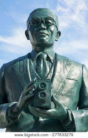Saga, Japan - October 30, 2018: Statue of  the founder of Ricoh San-ai Group, Kiyoshi Ichimura, he launched the twin-lens reflexcamera