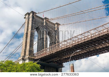 Brooklyn Bridge In New York City In The Brooklyn Park