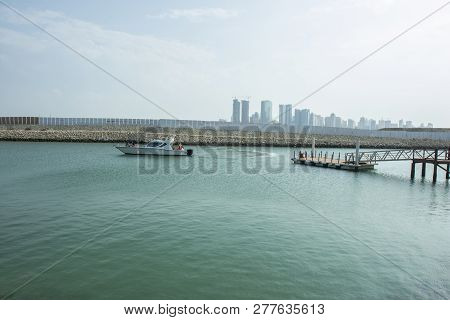 Manama, Bahrain, December 29, 2018: View Of The Port And Boat Of Bahrain National Museum In Manama